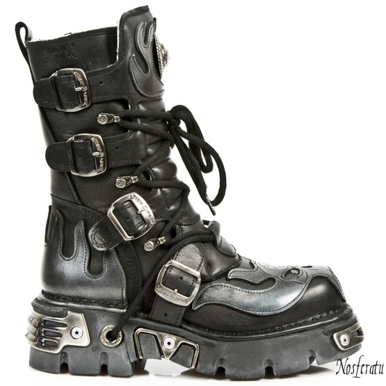 Topánky New rock - Vampire Boots (107-S2) Black-Grey