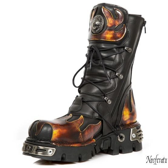 topánky NEW ROCK - Flame Boots (591-S1) Black-Orange