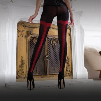 pančucháče LEGWEAR - charley opaque - black with red seam - OHVCTG2BL1